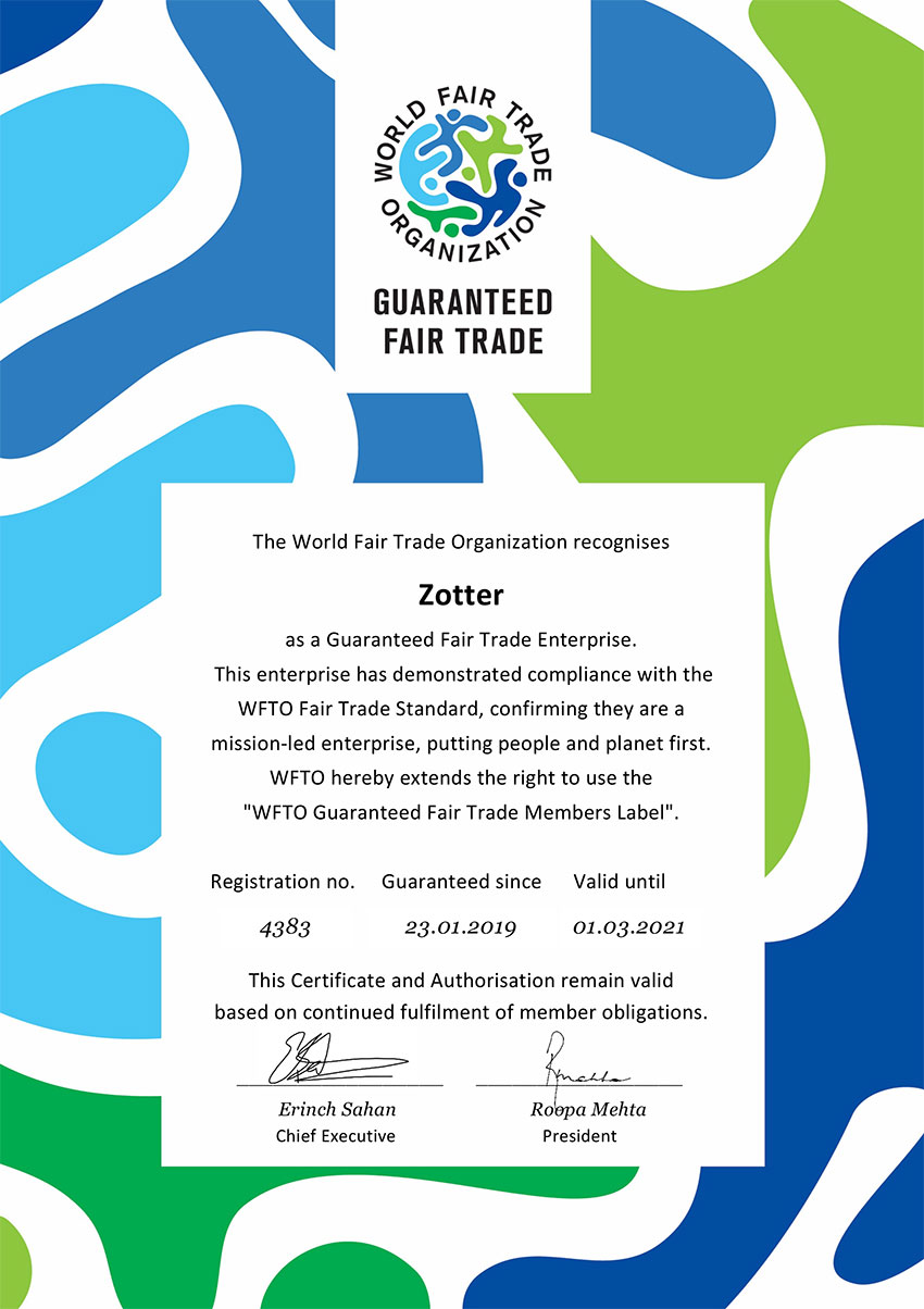 Zotter WFTO Member Certificate 2019-2021