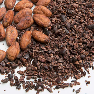 cocoa nibs and cocoa beans