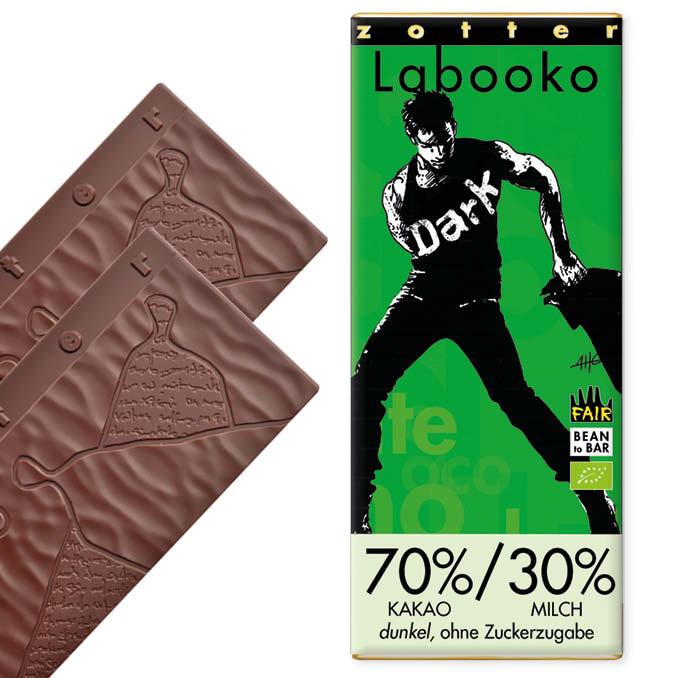 Zotter 70%/30% Milchschoko, dunkel, ohne Zuckerzugabe